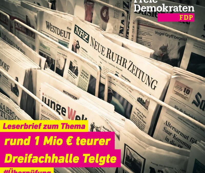"""Leserbrief zum Artikel """"Rund eine Million teurer"""" vom 13.06.2020 in der WN"""