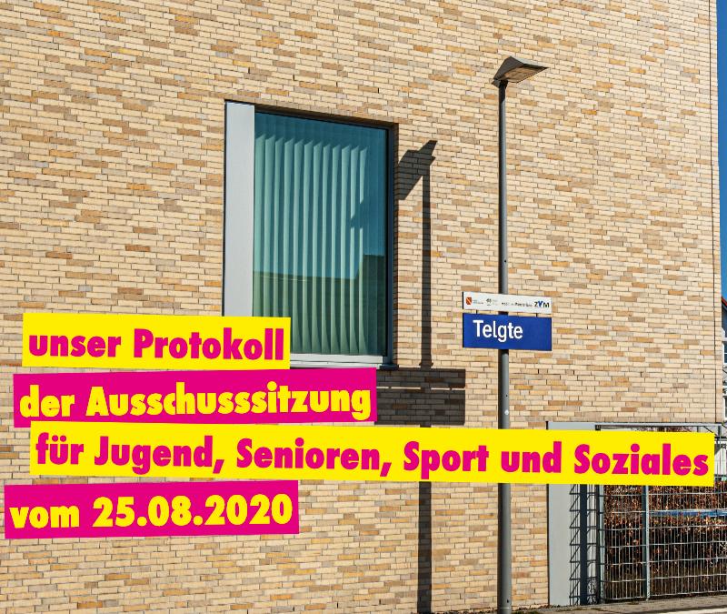 Protokoll der Ausschusssitzung für Jugend, Senioren, Sport und Soziales vom 25.08.2020