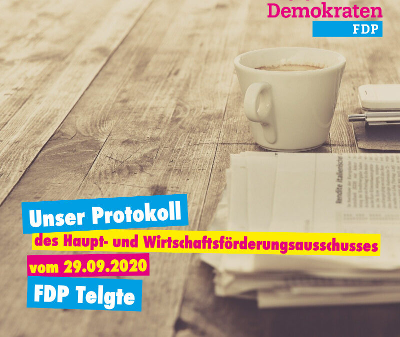 Unser Protokoll des Haupt- und Wirtschaftsförderungsausschusses vom 29.09.2020