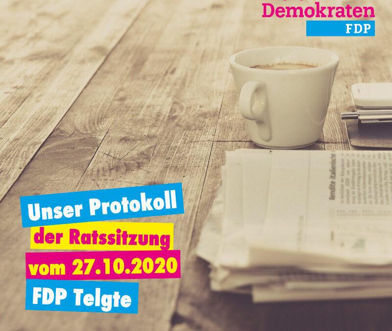 Unser Protokoll der Ratssitzung vom 27.10.2020