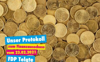 Unser Protokoll zum Finanzausschuss vom 23.02.2021