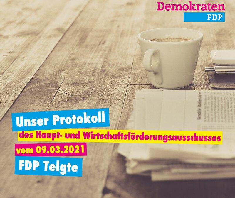 Unser Protokoll der Hauptausschusssitzung vom 09.03.2021