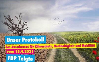 Unser Protokoll des Ausschusses für Klimaschutz, Nachhaltigkeit und Mobilität vom 15.4.2021