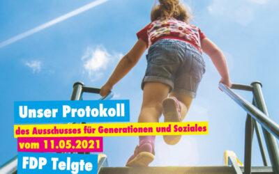 Unser Protokoll des Ausschusses für Generationen und Soziales vom 11.05.2021