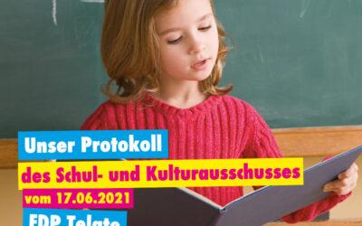 Unser Protokoll des Schul- und Kulturausschusses vom 17.06.2021